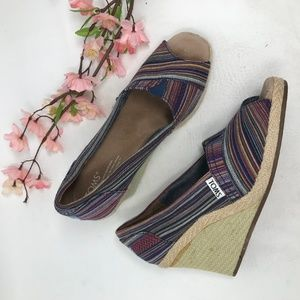 Toms Calypso Striped Espadrille Peep Toe Wedge
